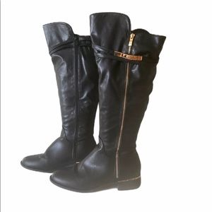 Top Moda Black Boots with Gold